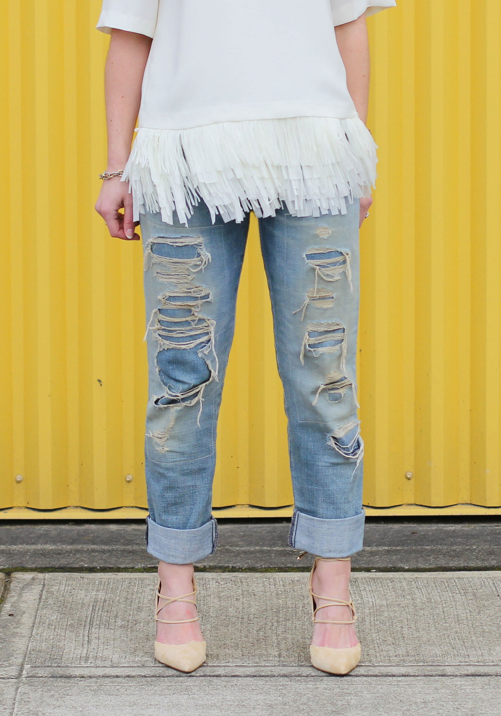 Current Elliott Boyfriend Jeans, Sam Edelman Dayna Lace-Up Pumps, Top With Fringe Hem, Destroyed Jeans