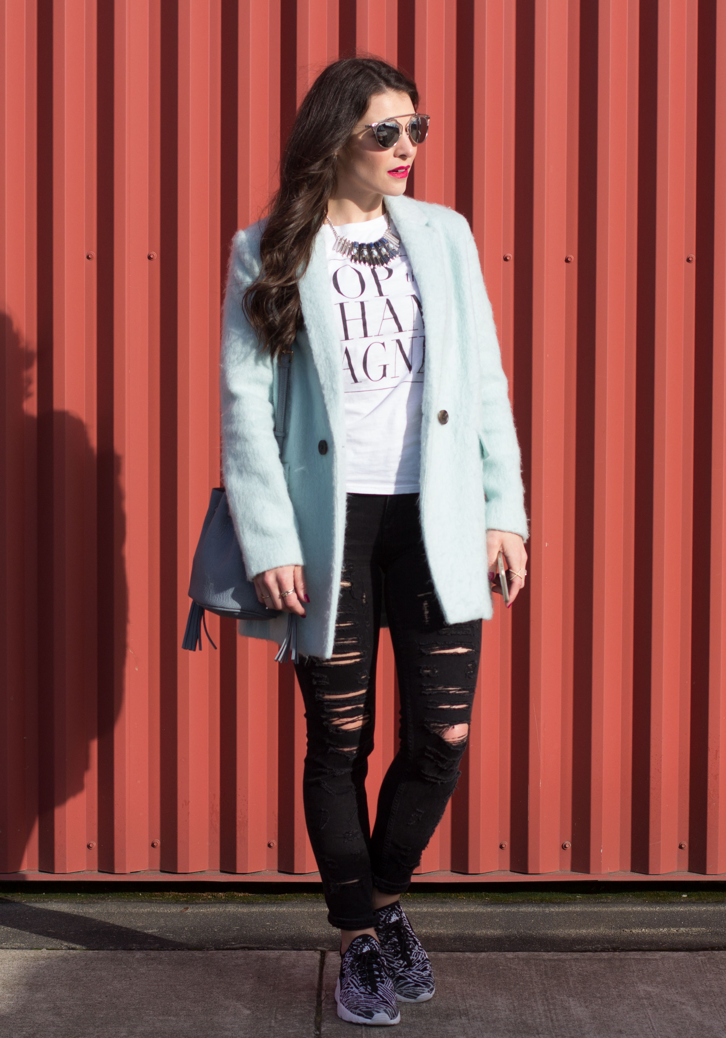 timeless design 63f33 46436 T J Pop The Champagne T-Shirt, Blank Denim Ripped Skinny Jeans, Nike Air