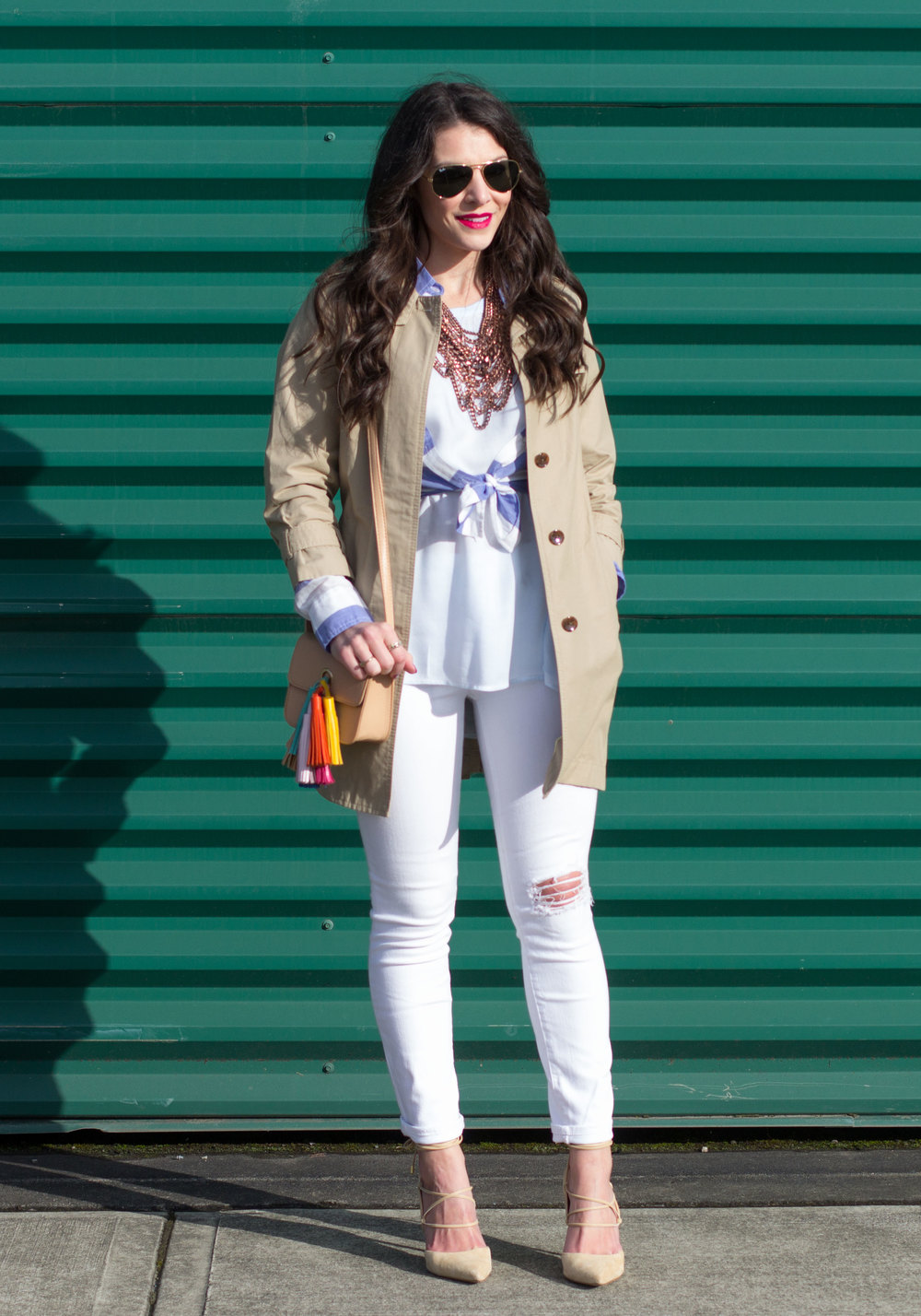 Spring Transitional Outfit, Banana Republic Trench Coat, Blue and White Stripe Shirt, High Low Layering Tank, Baublebar Courtney Bib Necklace, DIY Rebecca Minkoff Sofia Handbag, and Sam Edelman Dayna