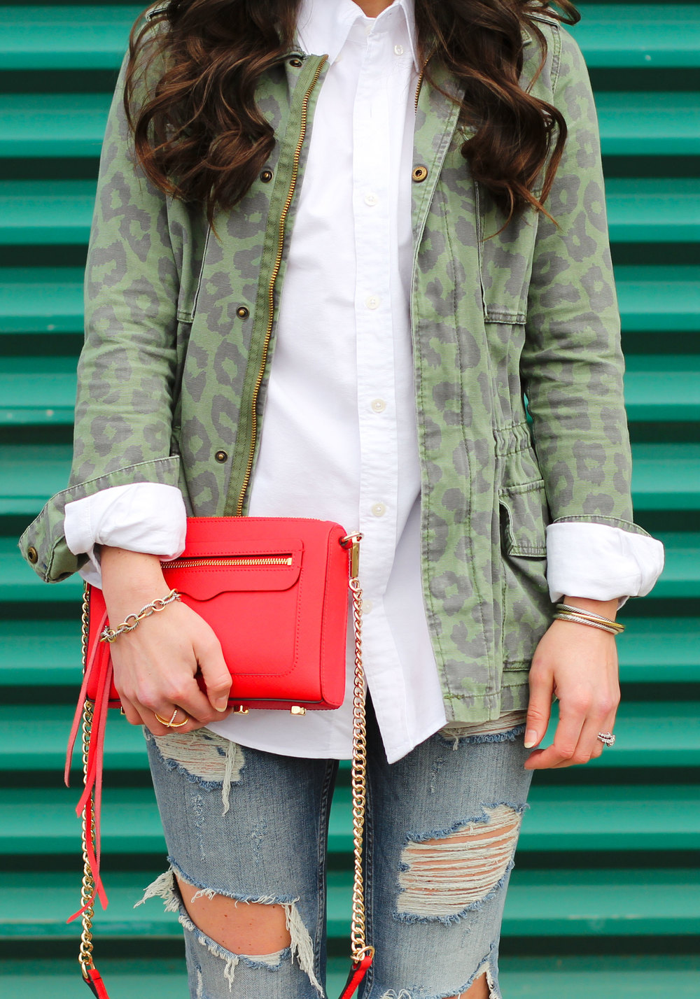 Spring Trends, Military Style Jacket, Boyfriend Shirts, Destroyed Jeans, Red Rebecca Minkoff Avery Crossbody Handbag