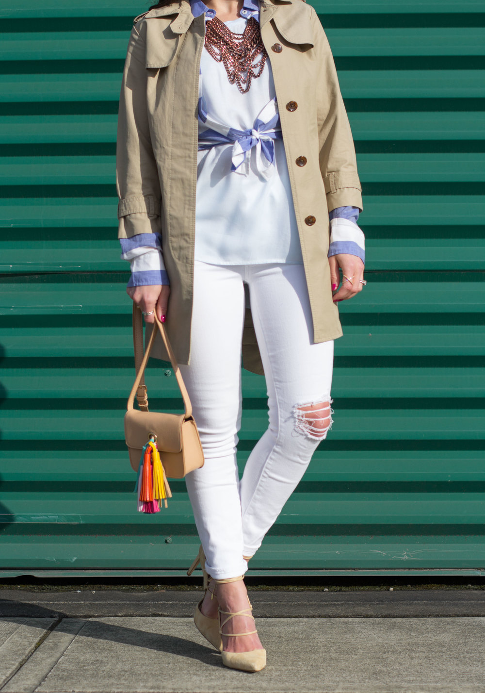 Spring Fashion, Distressed White Skinny Jeans, Sam Edelman Dayna Lace-Up Pumps, DIY Rebecca Minkoff Sofia Crossbody, Banana Republic Trench Coat