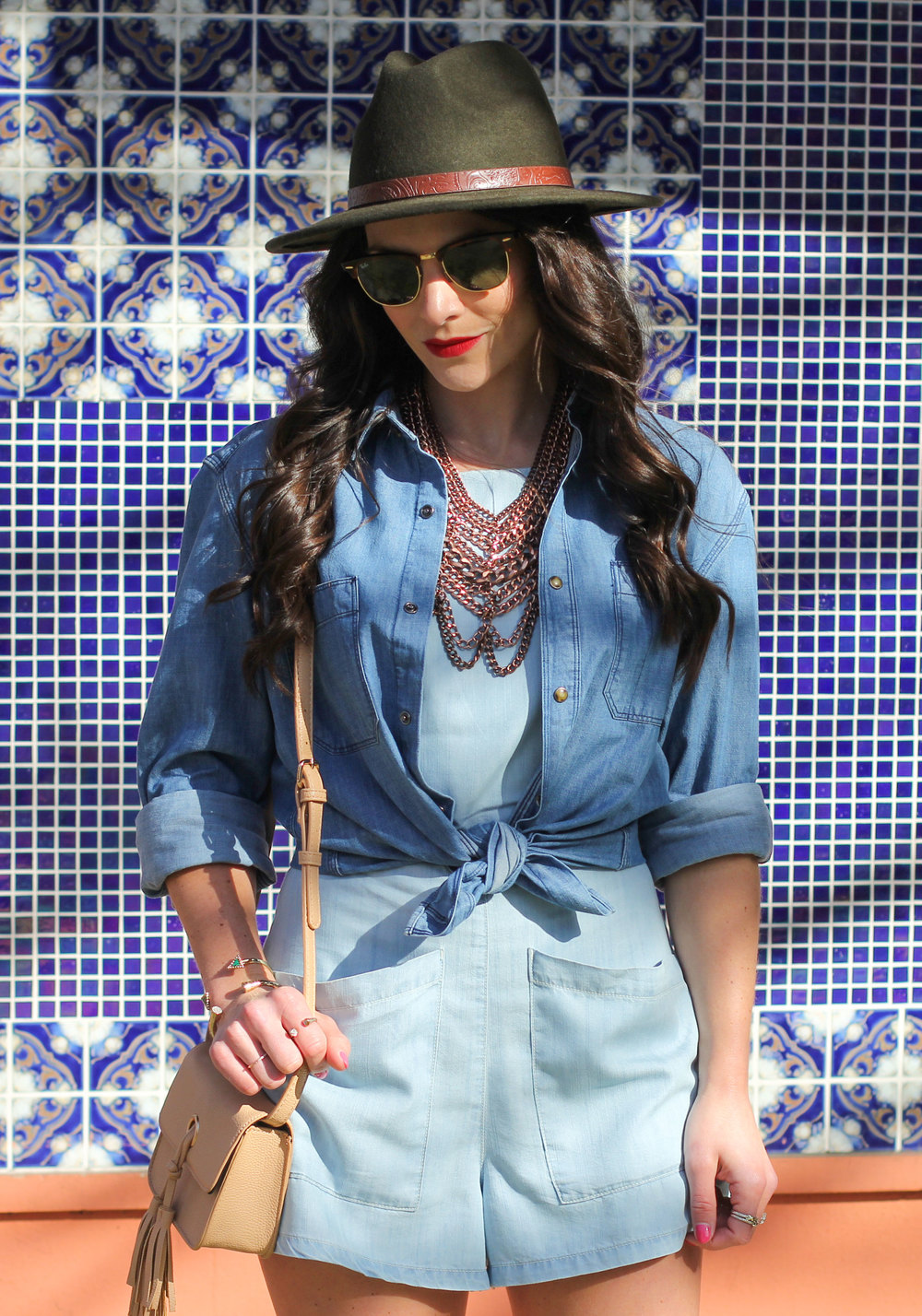 Spring Fashion, Denim Boyfriend Shirt, Baublebar Courtney Bib Necklace, BDG High Neck Chambray Romper, Forever 21 Faux Leather Tassel Crossbody, Ray-Ban Clubmaster Sunglasses