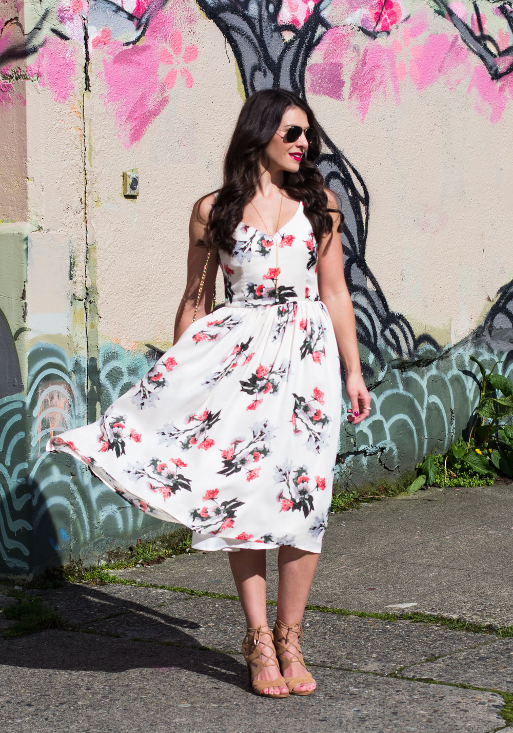 Easter Dress, BB Dakota Emeli Floral Midi Dress, Sam Edelman Yardley Sandals, Spring Dresses, Chambray Bomber Jacket