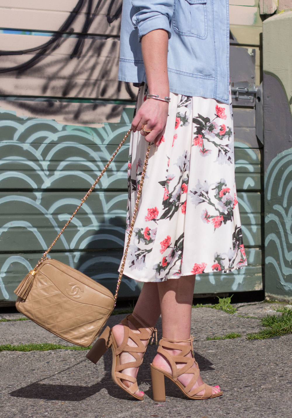 Easter Dress, BB Dakota Emeli Floral Print Midi Dress & Romy Jacket, Sam Edelman Yardley Sandals, Vintage Chanel Bag