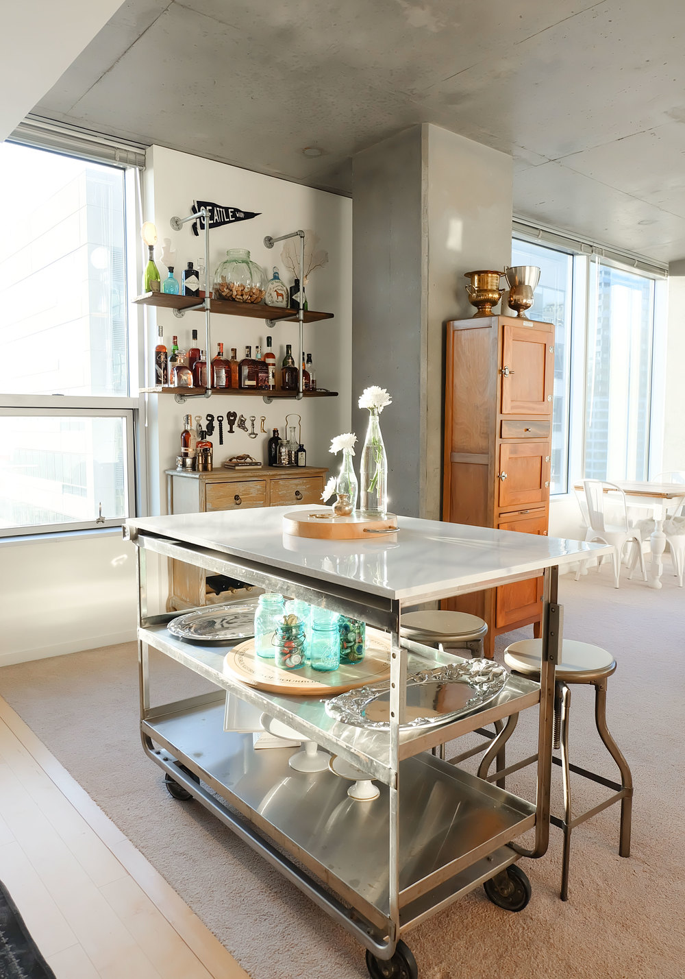 DIY Faux Carrara Marble Countertop, DIY Kitchen Island Cart, Industrial Loft in Seattle, DIY Bar