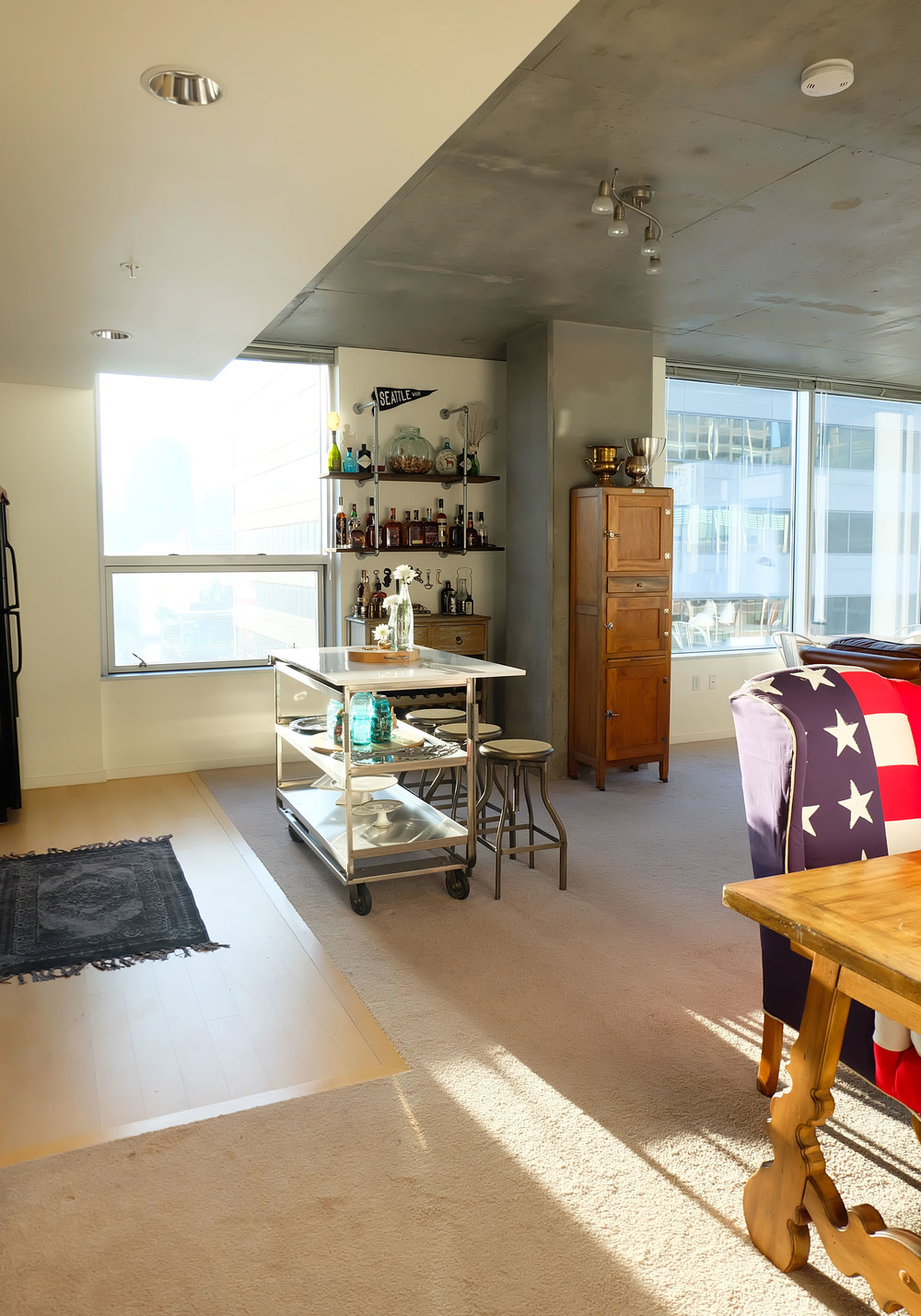 DIY Faux Carrara Marble Countertop, DIY Kitchen Island Cart, Industrial Loft in Seattle, DIY Bar, American Flag Queen Anne Chair