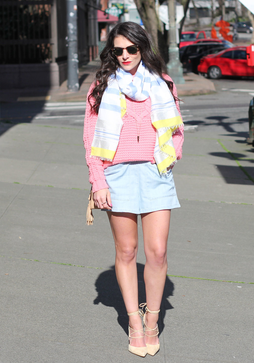 How To Layer For Spring, BDG Chambray Romper, Pink Cropped Sweater, Sam Edelman Dayna Pumps, Spring Outfit,