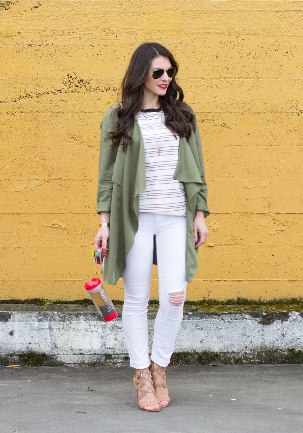 All White Spring Outfit, Leith Drape Front Jacket, DIY Rebecca Minkoff Sofia Handbag, Sam Edelman Yardley Sandals