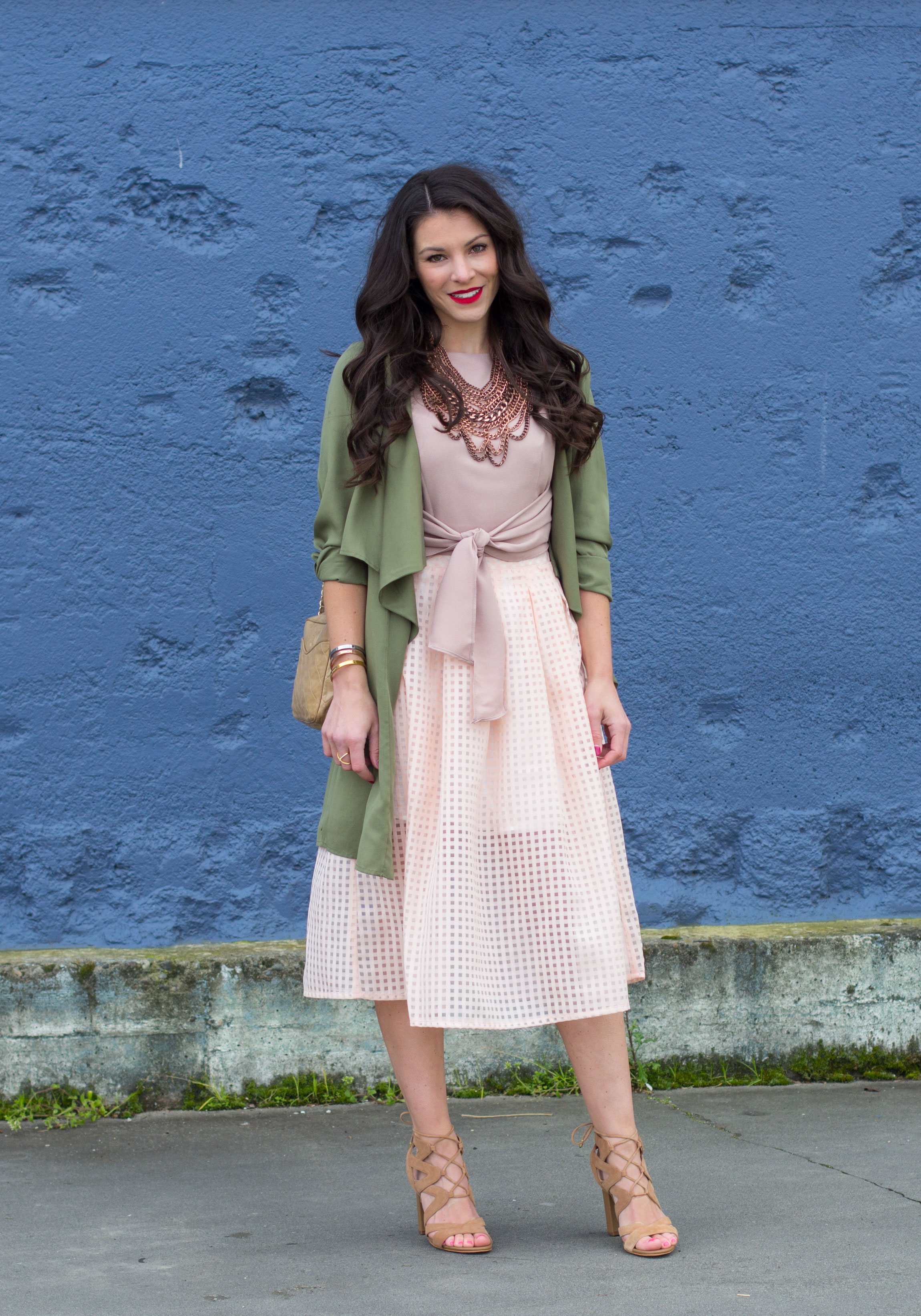 8e3c5018b Midi Skirt Outfit, Crop Top With Midi Skirt, Baublebar Courtney Bib  Necklace, Vintage