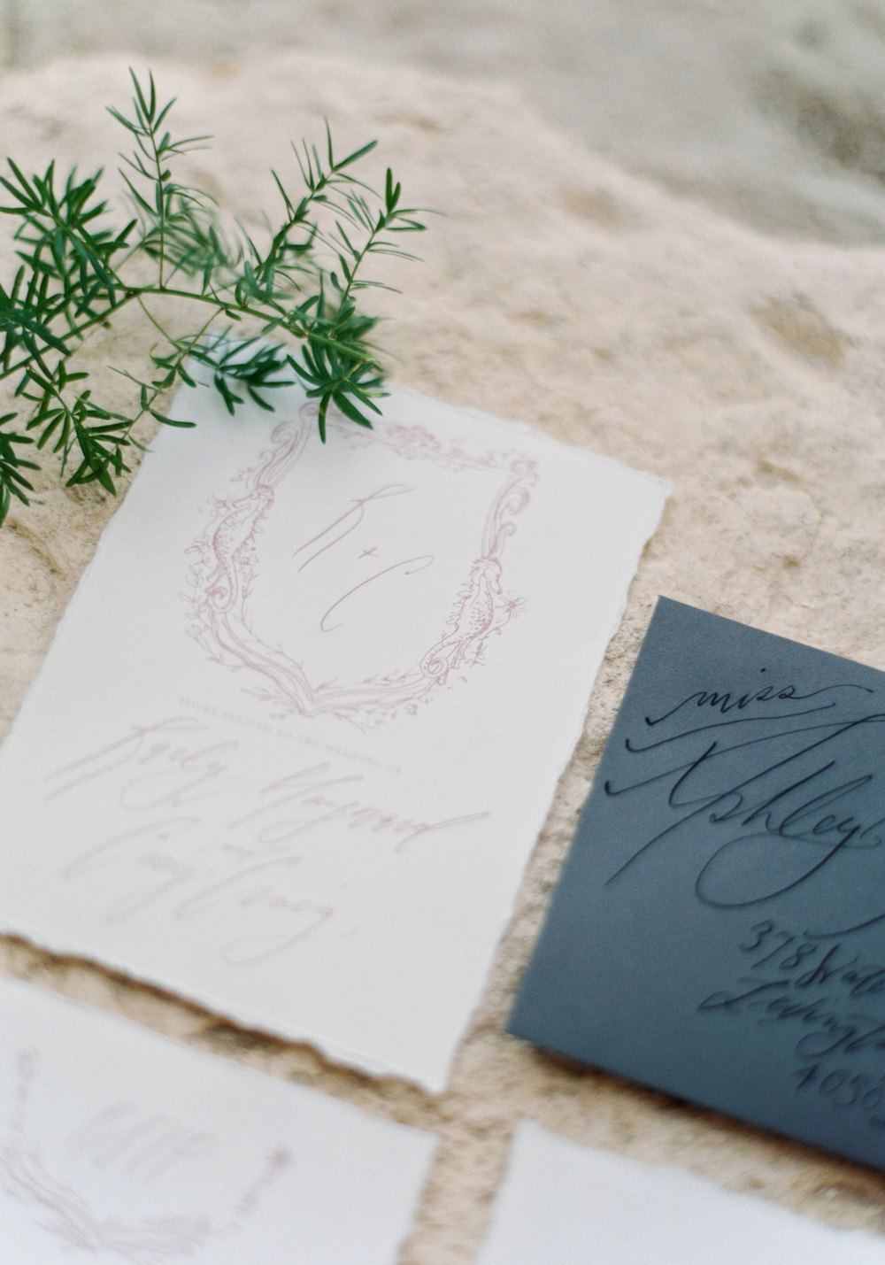 Blush and grey calligraphy invitation suite for a Mexico destination wedding on the beach. www.me-and-mrjones.com