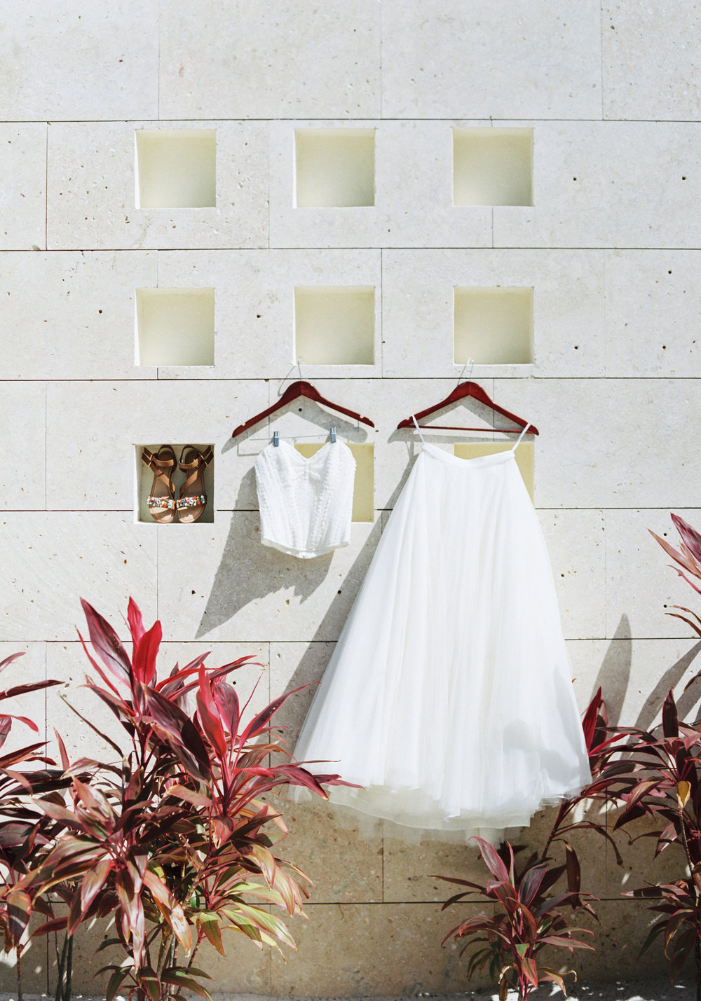 Bridal separates for a destination wedding on the beach.  Watters Ashan skirt.