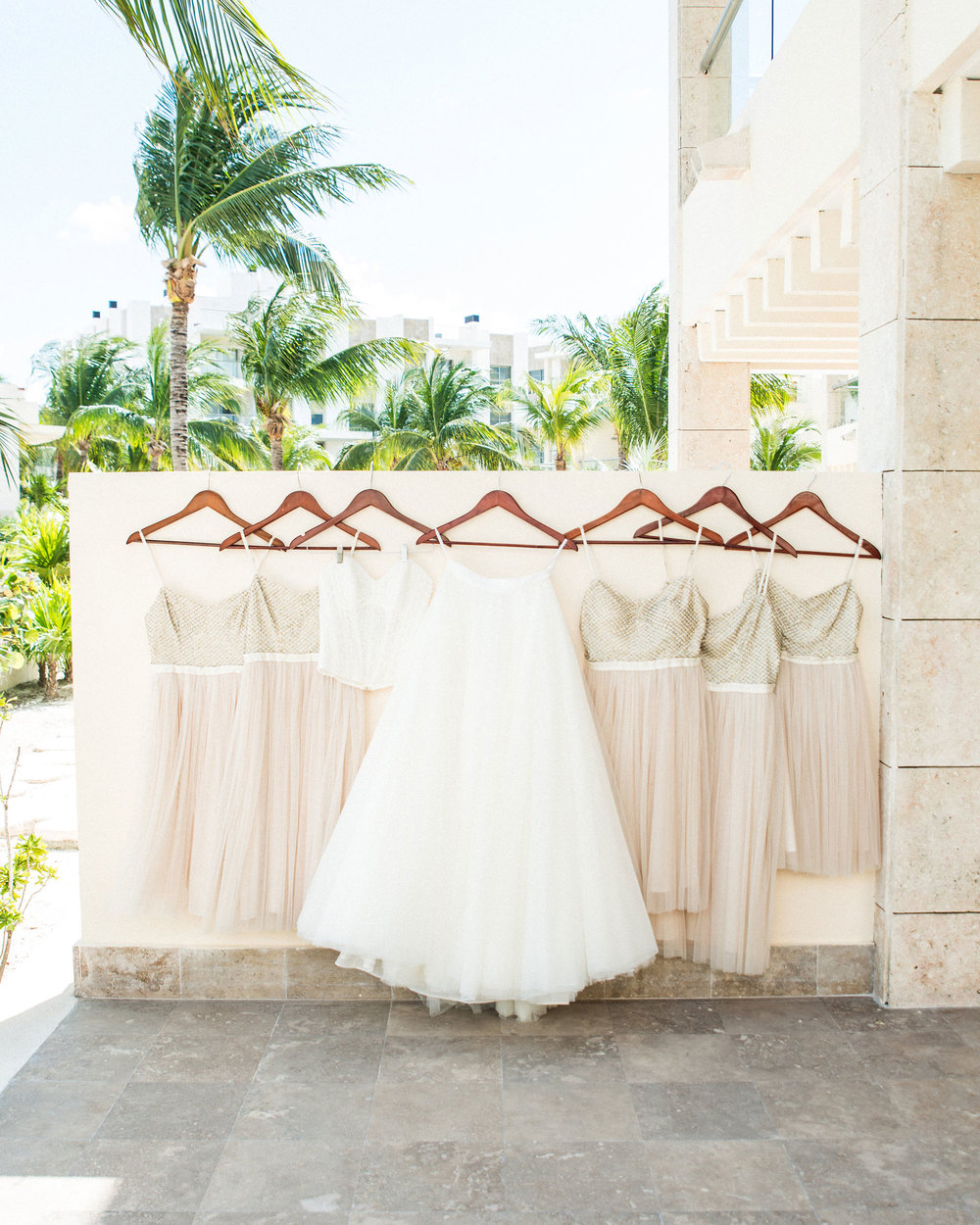 Destination wedding, Bridal separates, Watters Ashan Skirt, Watters corset top, BHLDN Coppelia Bridesmaid dress.