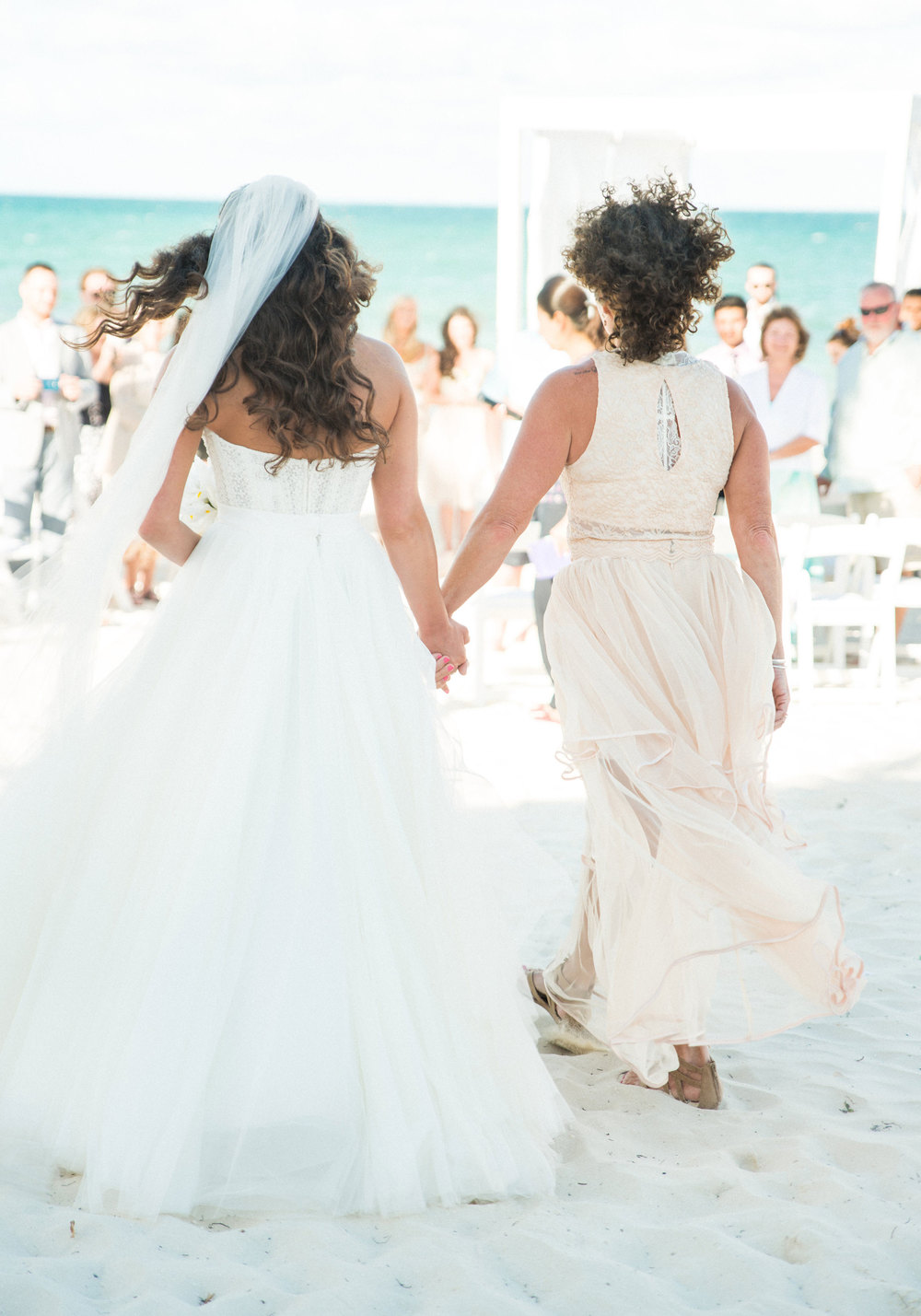 Beach wedding, Mom walking bride down the aisle, Bridal separates, Watters Ashan skirt.