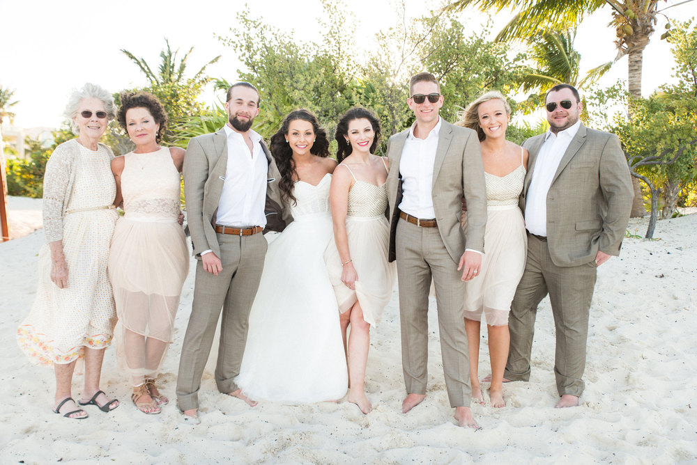 Destination wedding in Mexico, informal family portrait, BHLDN Coppelia bridesmaids dress.
