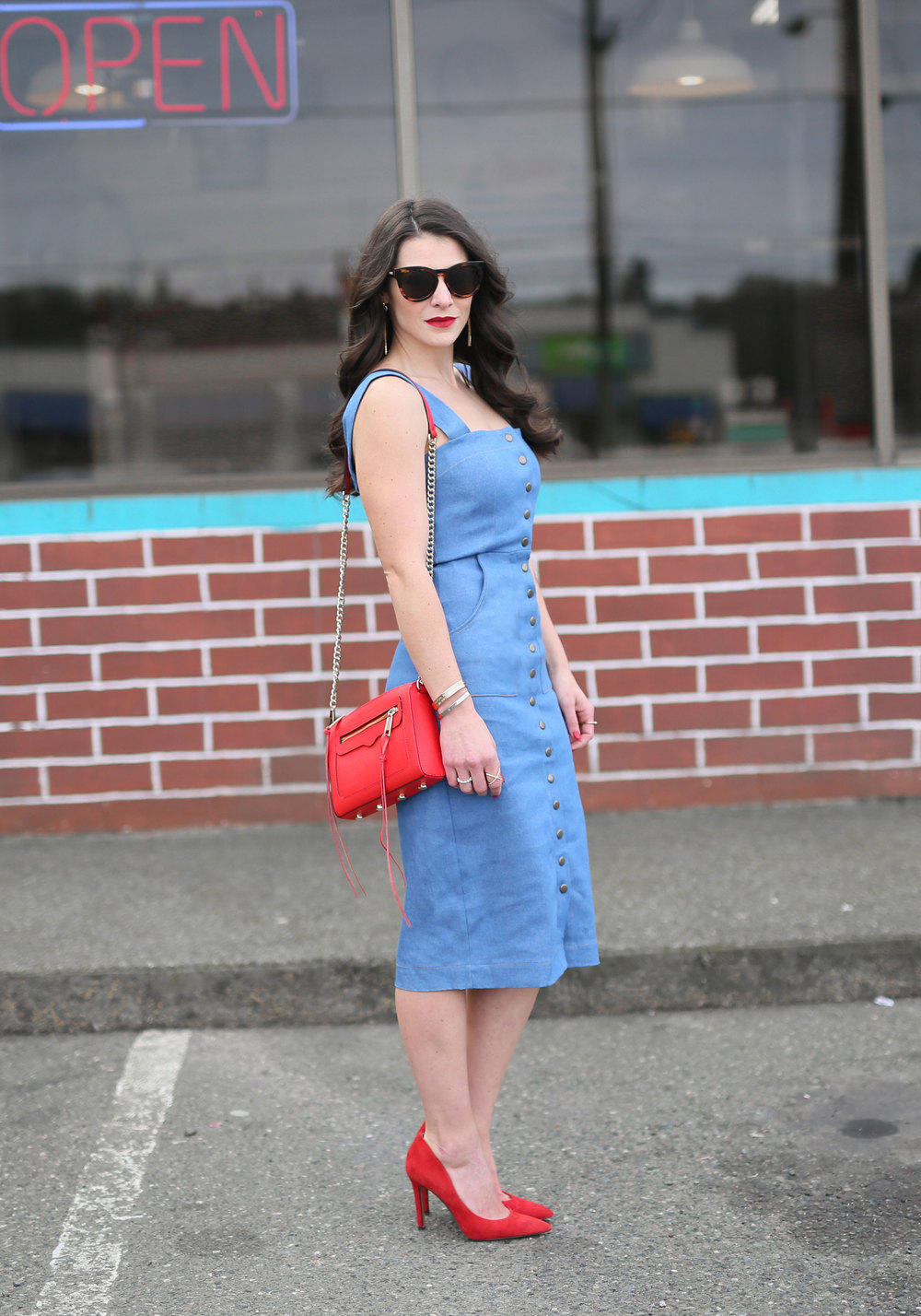 Clayton Candace Dress, Denim Midi Dress, Date Night Dress, Figure Flattering Midi Dress