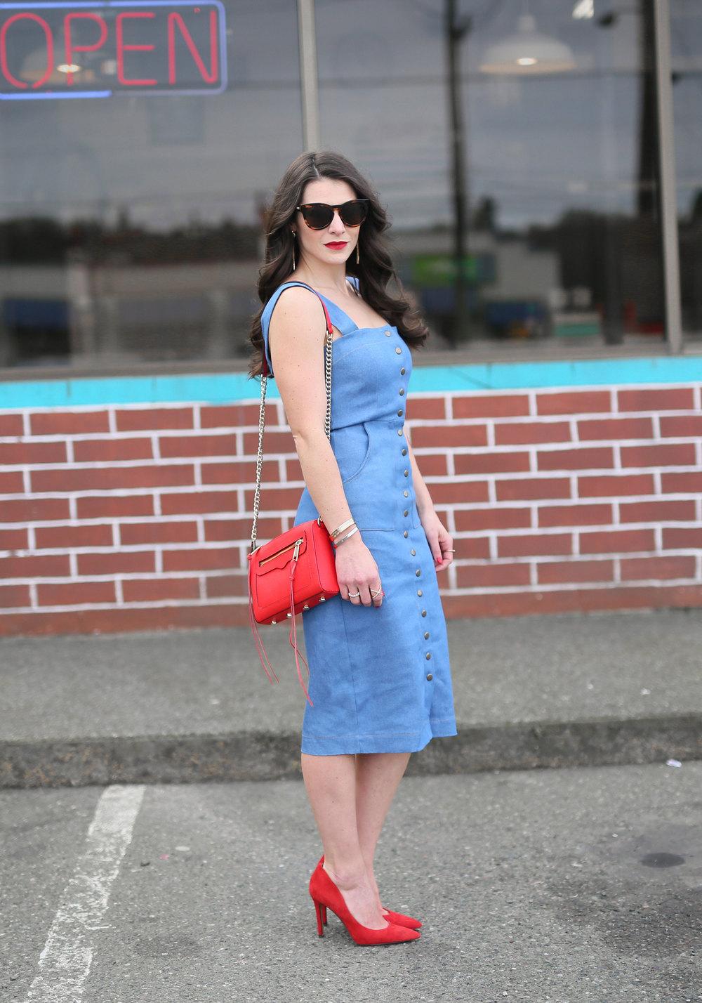 Clayton Candace Dress, Denim Midi Dress, Date Night Dress, Figure Flattering Midi Dress