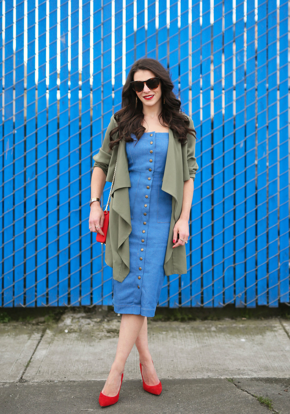 Clayton Candace Dress, Denim Midi Dress, Rebecca Minkoff Avery Crossbody, Red Bag and Shoes, Karen Walker look-alike sunglasses, Drape Front Jacket