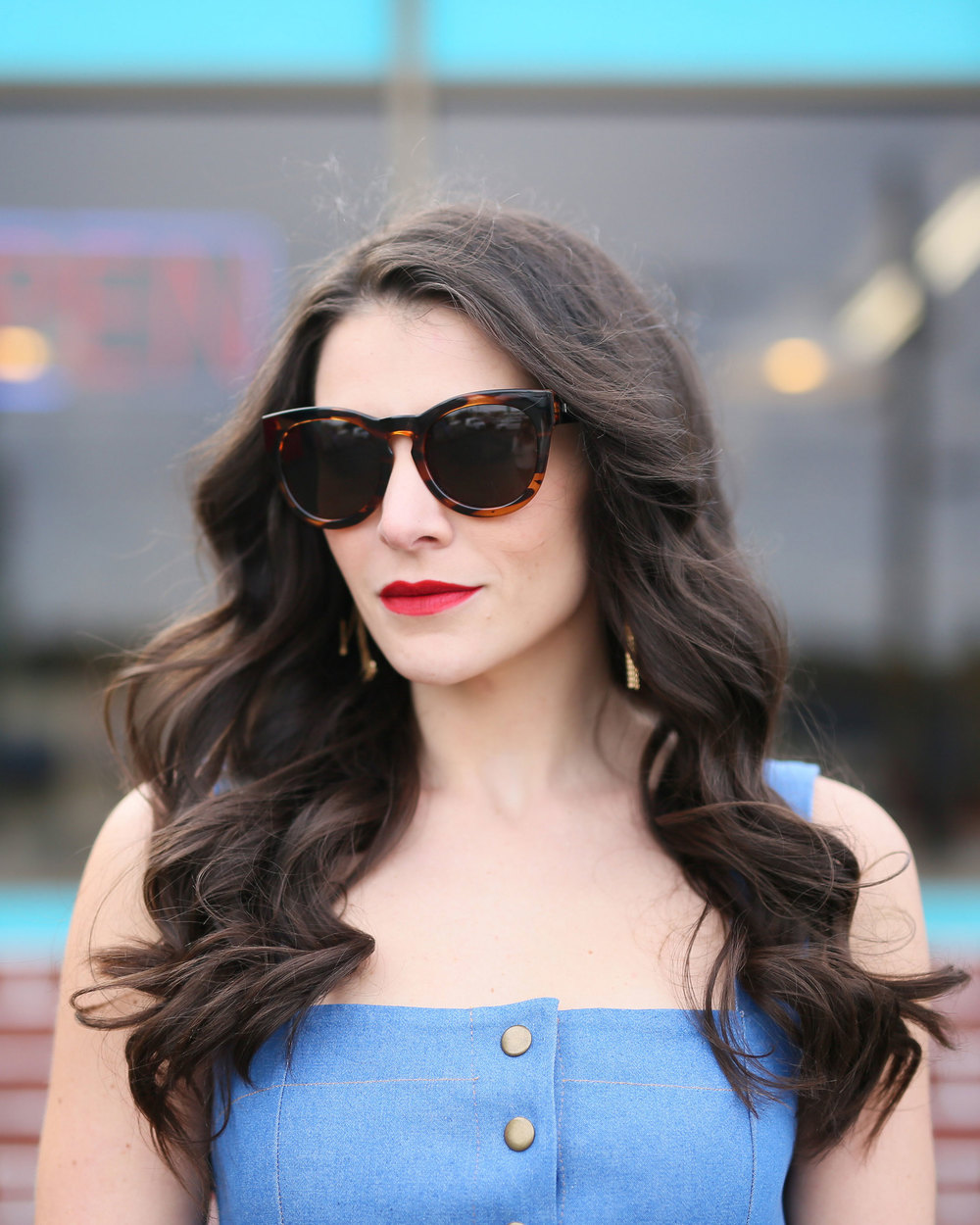 Clayton Candace Dress, Denim Midi Dress, Button-Front Dress, Karen Walker look-alike sunglasses, Le Specs Jealous Games Sunglasses