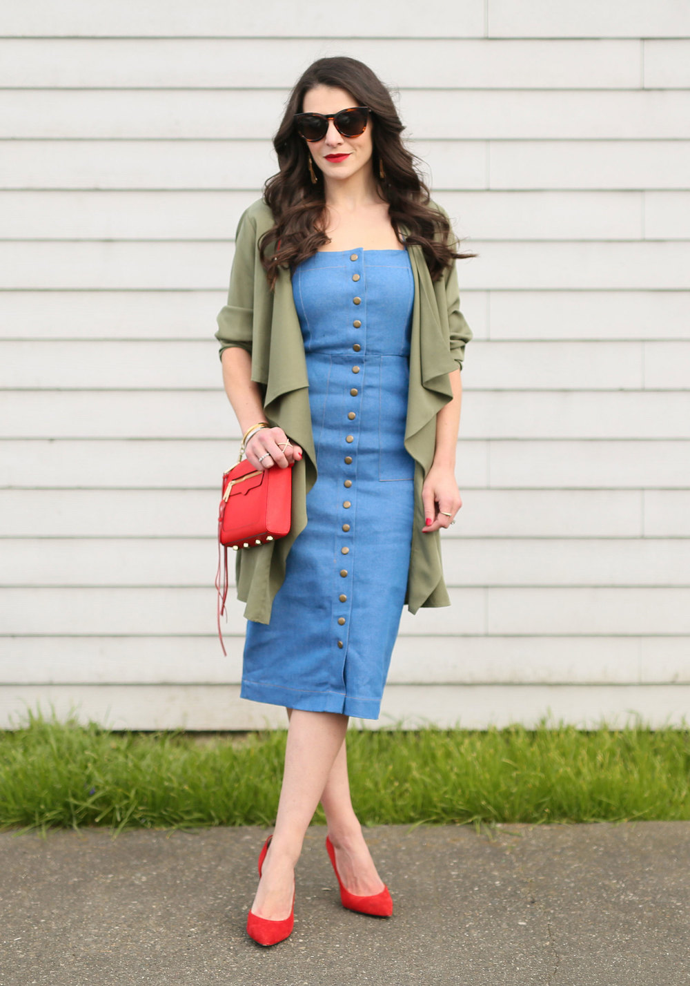 Clayton Candace Dress, Denim Midi Dress, Button-Front Dress, Le Specs Jealous Games Cat Eye Sunglasses, Rebecca Minkoff Avery Crossbody, Red Pumps, Drape Front Jacket