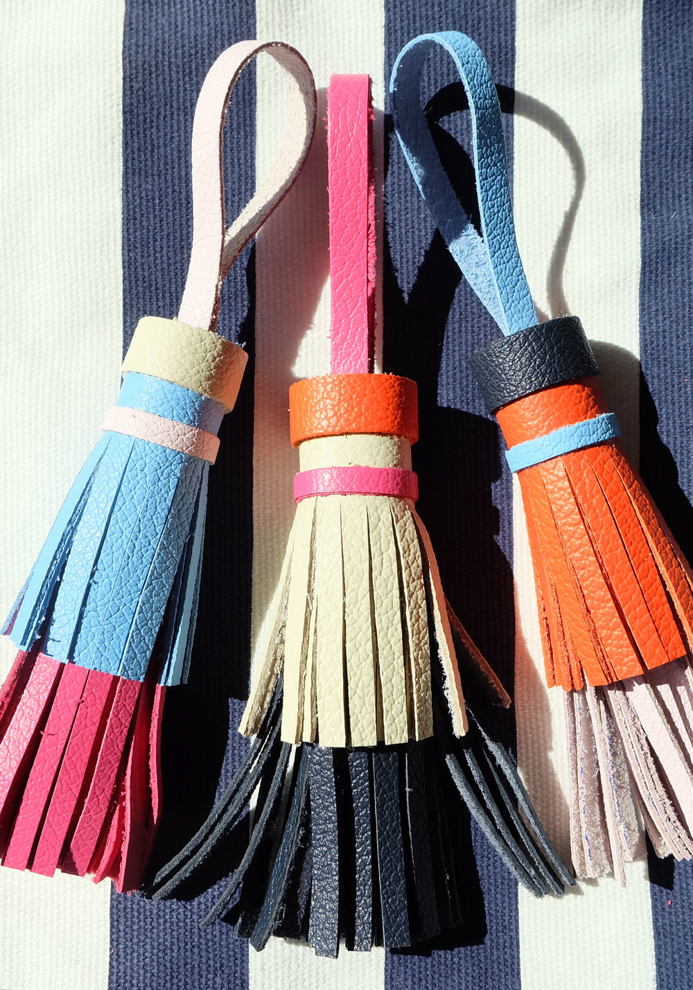 DIY Tory Burch leather tassel key fobs!