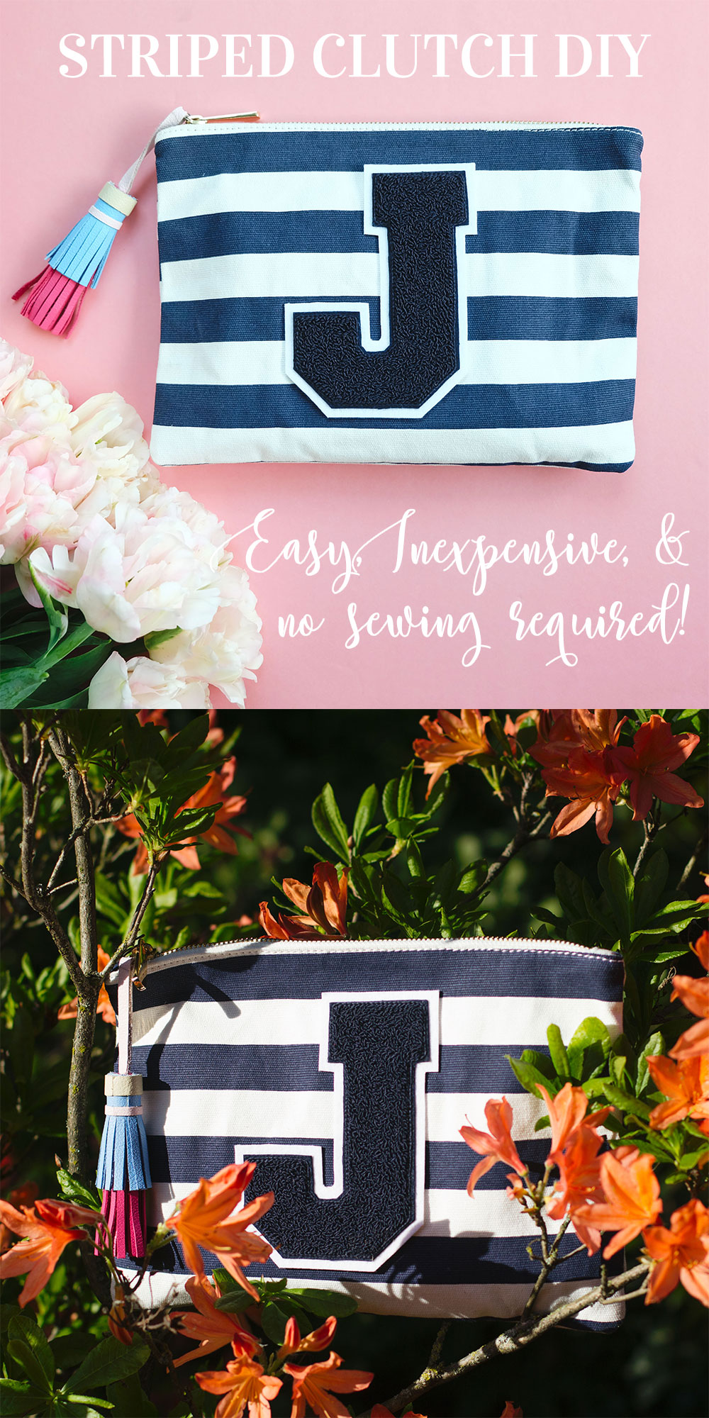 DIY Striped Clutch with Letter Monogram, DIY Under $30, Do It Yourself Fashion