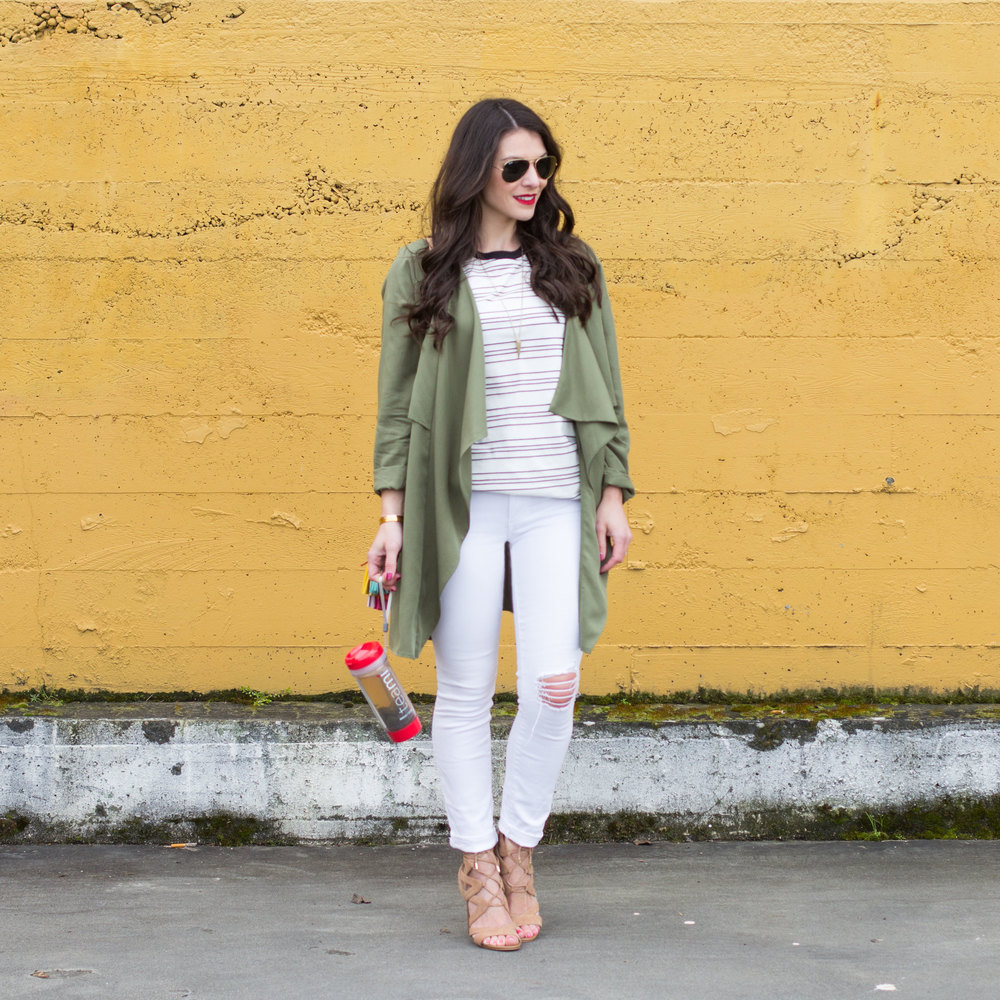 Spring Outfit, White Skinny Jeans, Green Drape Jacket, Stripe Tee, Sam Edelman Yardley Sandals.