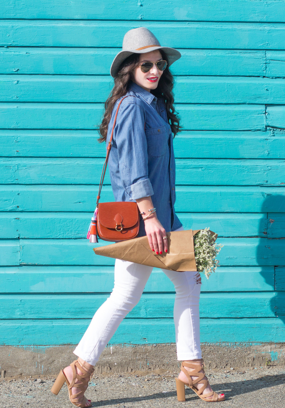 Spring Outfit, Denim Boyfriend Shirt, White Skinny Jeans, Louis Vuitton Crossbody with DIY Leather Tassels