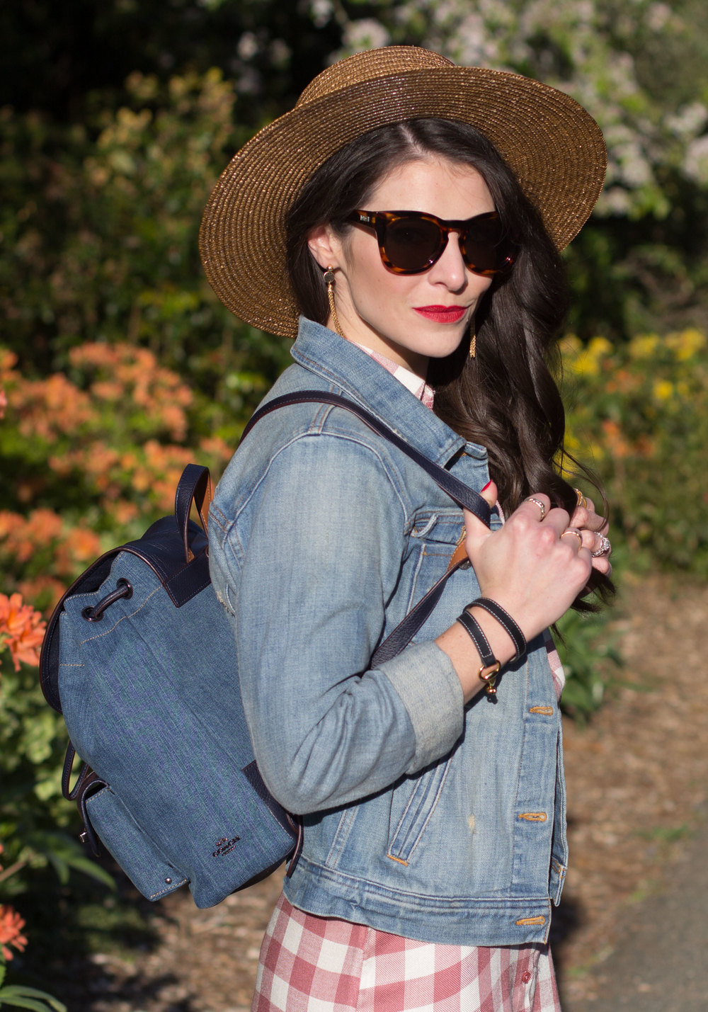 "Spring Outfit, Coach Denim Rucksack Backpack, J.Crew Denim Jacket, BB Dakota Plaid Dress, Straw Boater Hat, and Lespecs ""Jealous Games"" Sunglasses"