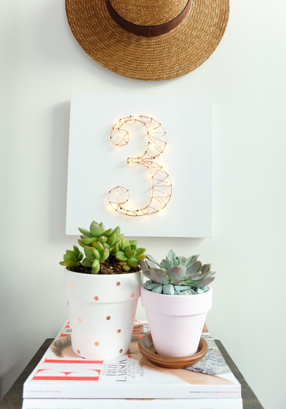 DIY succulent planters, copper foil tape polka dots, Indoor plants, Easy & inexpensive DIY