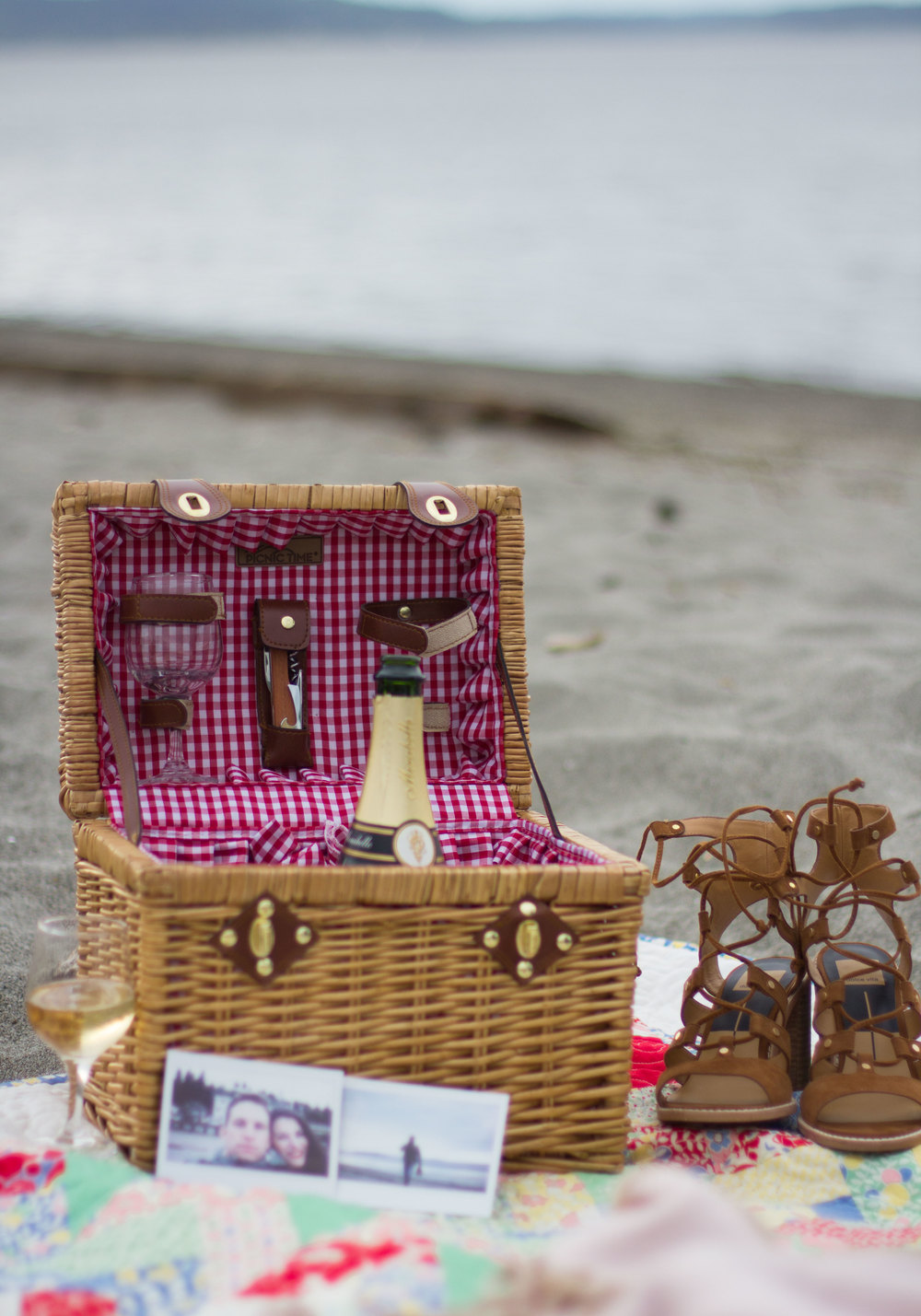 Champagne at the Beach for Date Night, JOA Striped Romper, Dolce Vita Lyndon Sandals, & a Cute Picnic Basket!