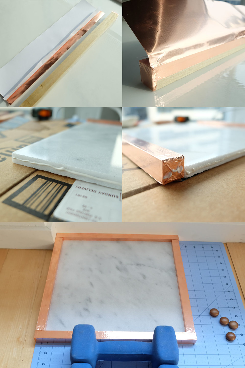 DIY marble tray with copper accents, rose gold foil tape DIY project, Jewelry tray, Creative Necklace Stand