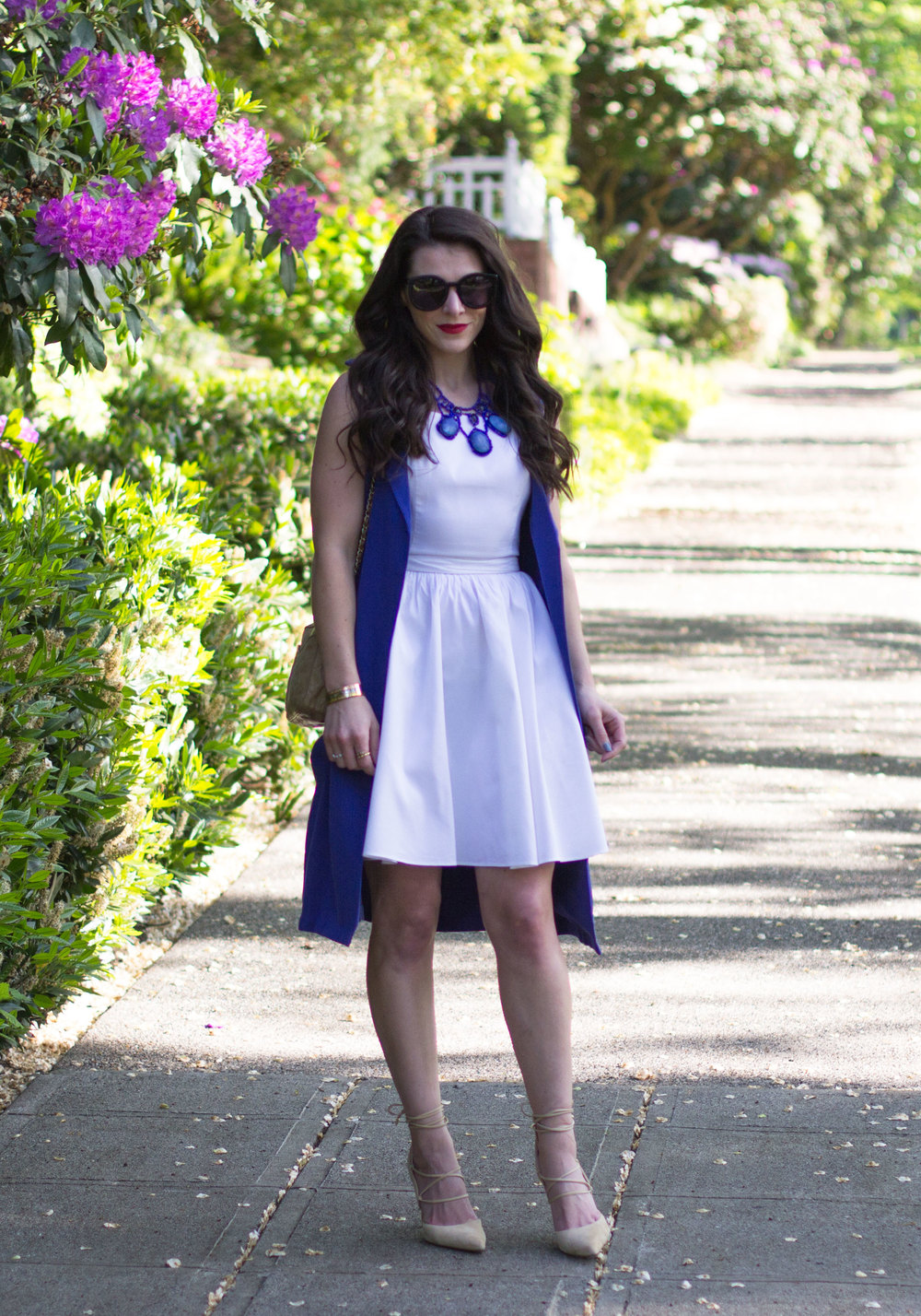 Cute Summer Work Outfit Ideas, How To Transition Your Summer Dress from Day to Night, Sam Edelman Dayna Lace Up Pumps, Vintage Chanel Bag.
