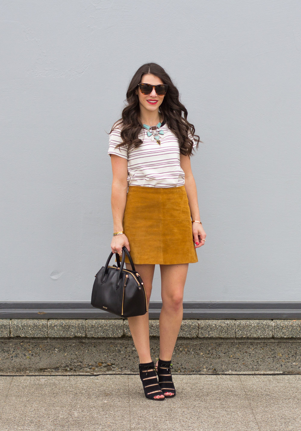 Strpe t-shirt outfits for summer, suede skirt styled for summer, Seychelles Play Along Heels, Rebecca Minkoff