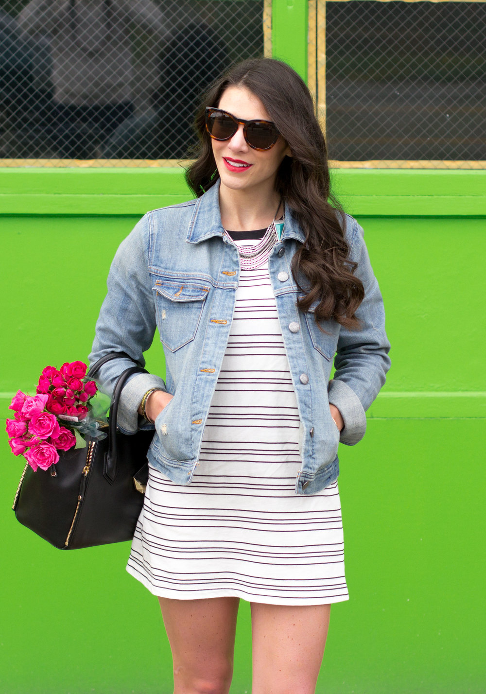 Stripe T-shirt dress outfits for summer, Dress with Adidas Originals Sneakers, Rebecca Minkoff Mini Perry Satchell