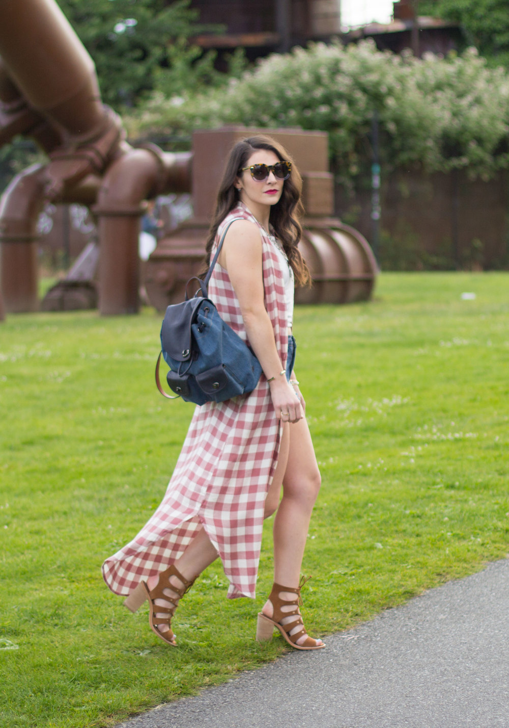 Music Festival Style, Cute Sumer Outfits, BB Dakota Lance Plaid Dress, Dolce Vita Lyndon Sandals, Coach Denim Backpack, Karen Walker Super Duper Thistle Sunglasses