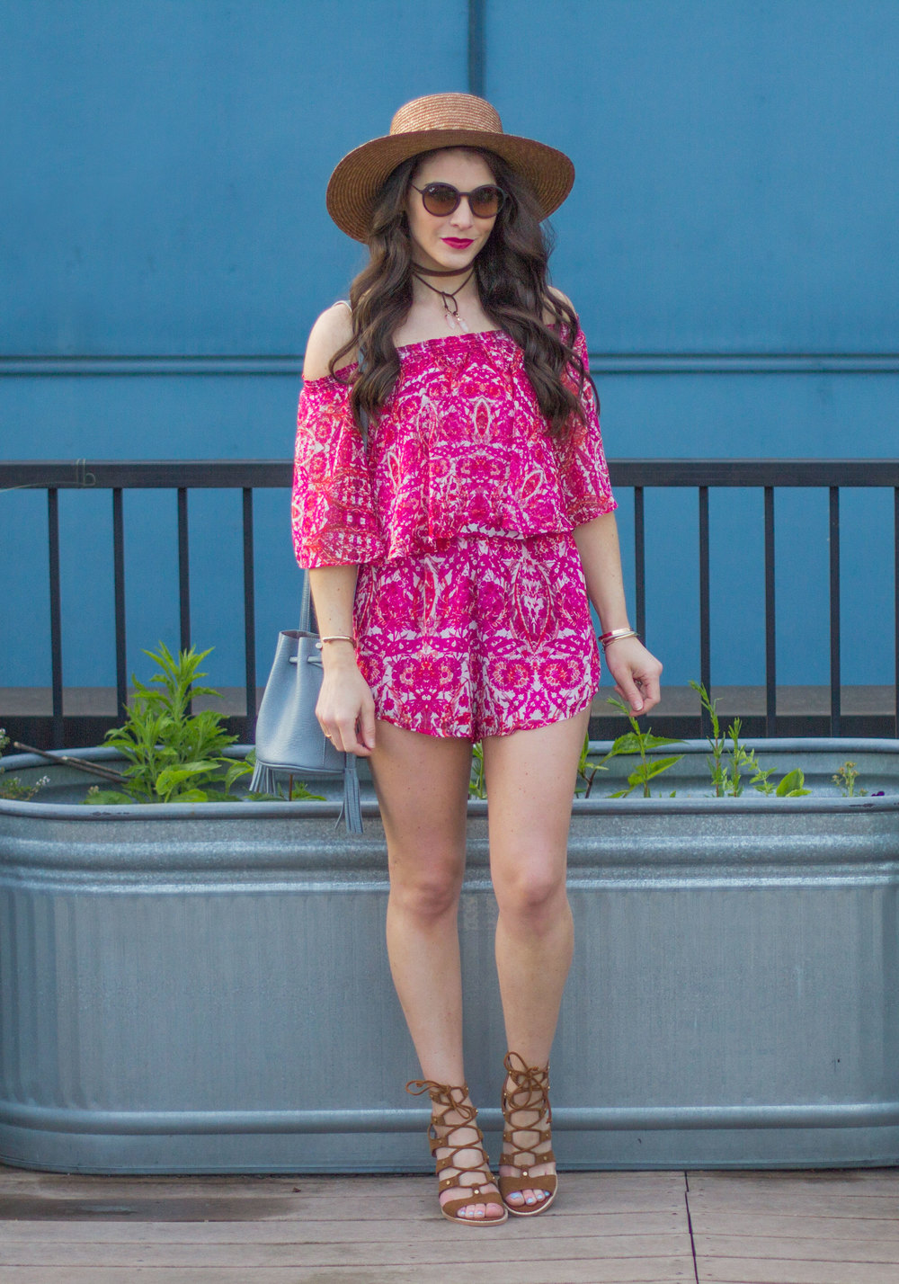 "Music Festival Outfits, Show Me Your Mumu Rosarita Romper in Pomegranate Punch, Dolce Vita ""Lyndon"" Sandals, Boater Hat Outfit, Crosley Record Player, Cute Summer Outfit"