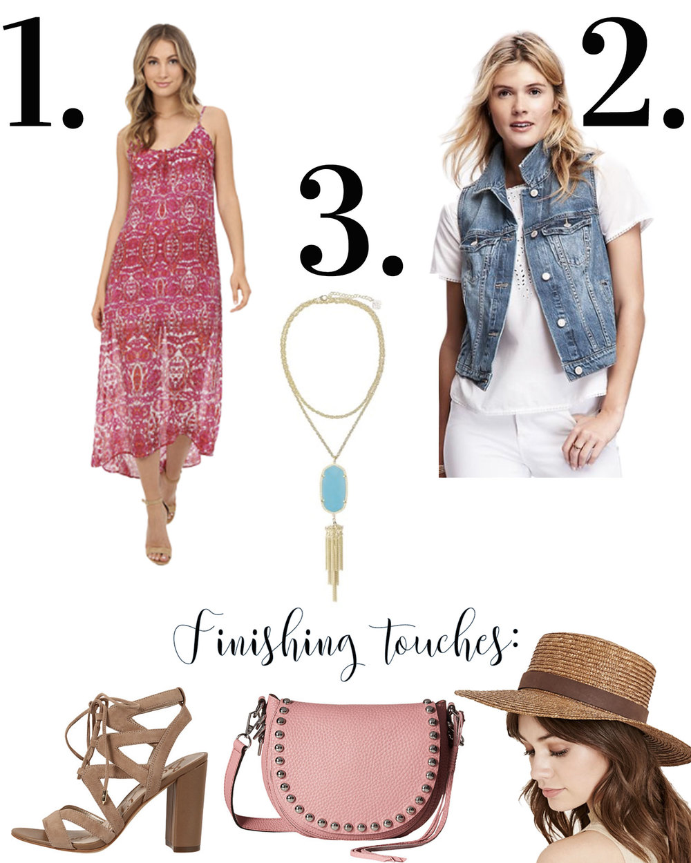 Third piece rule for cute summer outfits, midi dress with denim vest and Sam Edelman Yardley sandals, Kendra Scott Rayne Necklace in teal, and a light pink Rebecca Minkoff saddle bag.