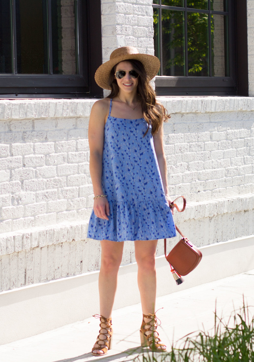 Effortless Summer Outfits, Easy Summer Dresses, Dolce Vita Lyndon Sandals, BB Dakota Veera Azul Dress, Boater Hat Outfit