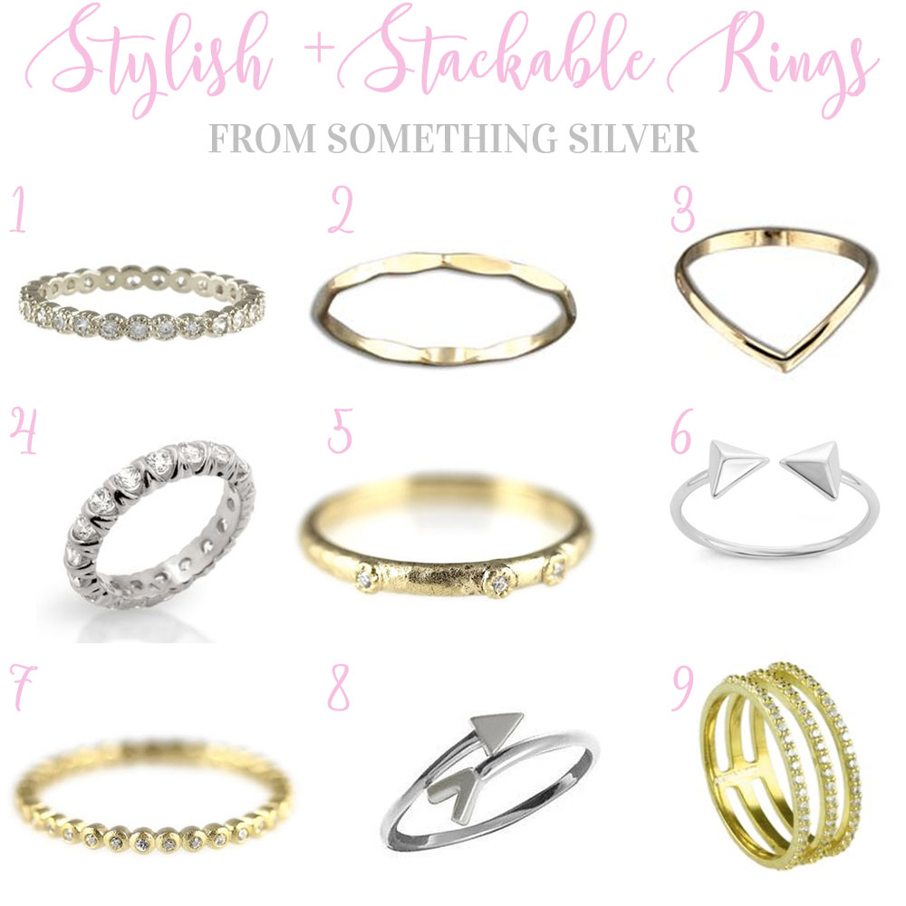 Summer Jewelry Trends 2016, Stylish Stacking Rings, Affordable Stack Rings from Something Silver.