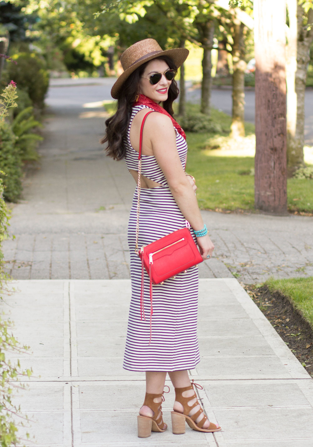 Cute July 4th Outfit Ideas, Roxy Ano Nuevo Dress, Striped Dress with Red Scarf, Dolce Vita Lyndon Sandals, Boater Hat, Rebecca Minkoff Avery Crossbody Bag, Stripe Maxi Dress with Open Back