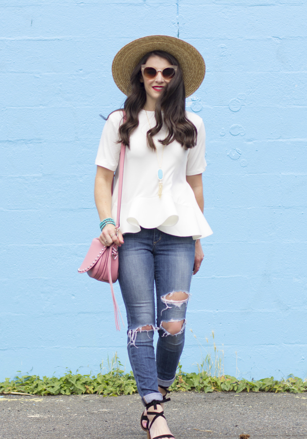 "Flattering T-Shirt for All Body Types, English Factory Flounce Tee, Joe's Jeans ""The Icon"" Skinny, Rebecca Minkoff Unlined Saddle Bag, San Diego Hat Co Boater Hat, Taudrey Turquoise Bracelets, Steve Madden Rizzaa Sandals, Cute Summer Outfits on Me & Mr. Jones!"