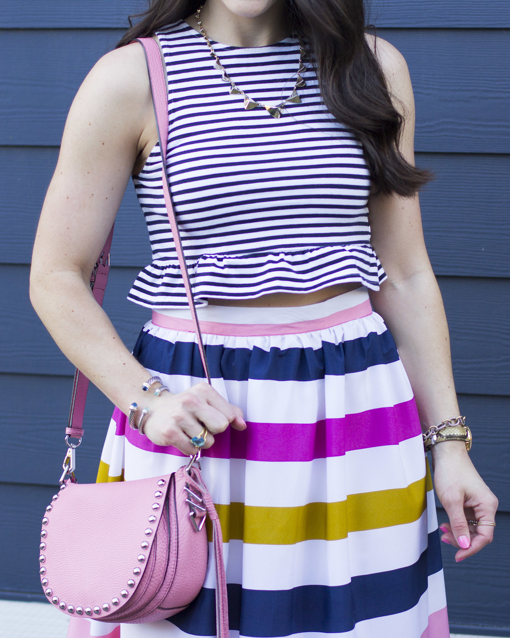Print Mixing Stripes, Stripes on Stripes Outfit, Rainbow Striped Skirt with Stripe Crop Top, Sam Edelman Yardley Sandals, Rebecca Minkoff Unlined Saddle Bag, Cute Summer Outfits