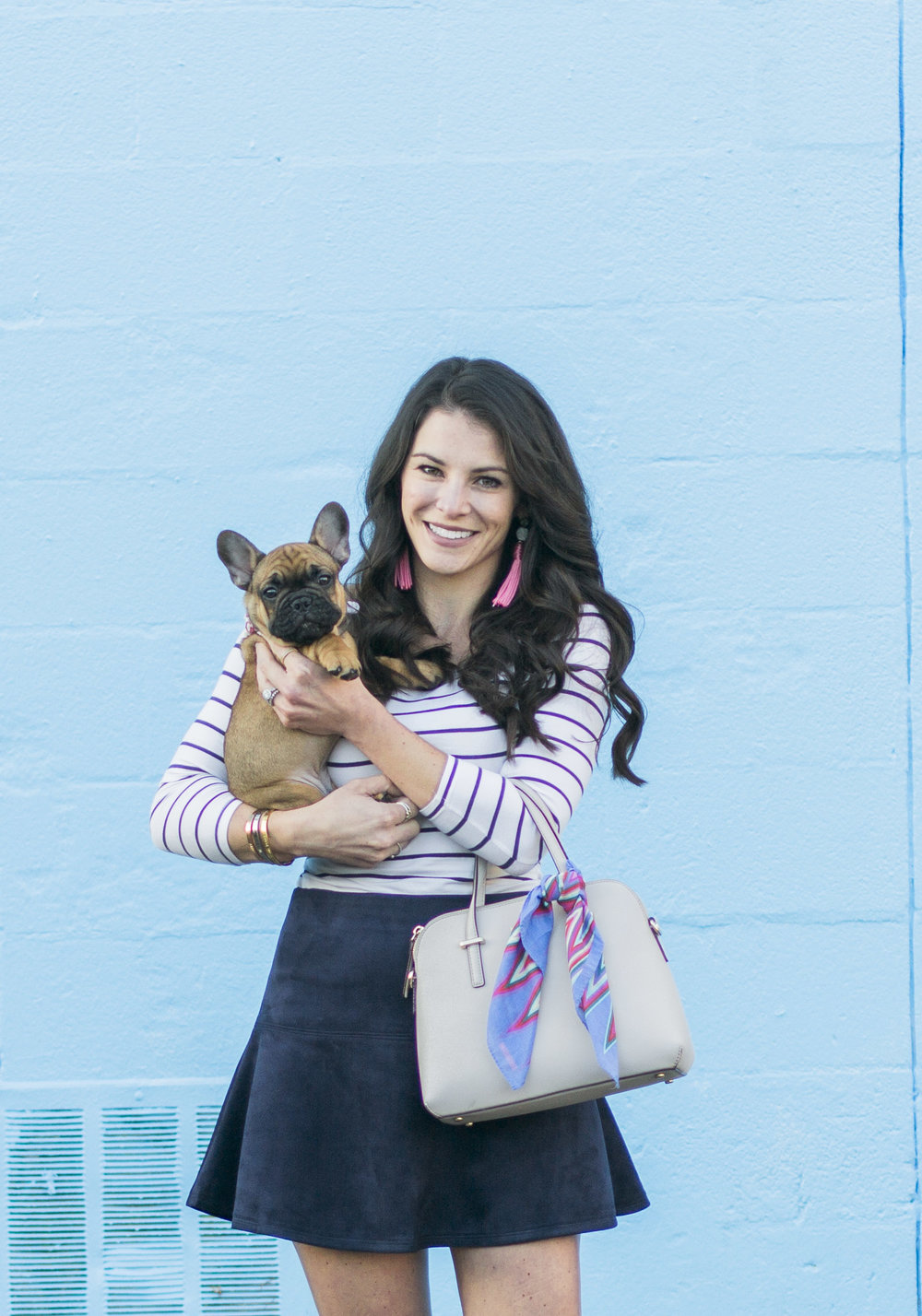 Fall Transition Outfit, BB Dakota Abrams Suede skirt with off the shoulder 'Bardot' top, French bulldog puppy, red fawn frenchie, suede Chukka Vans.