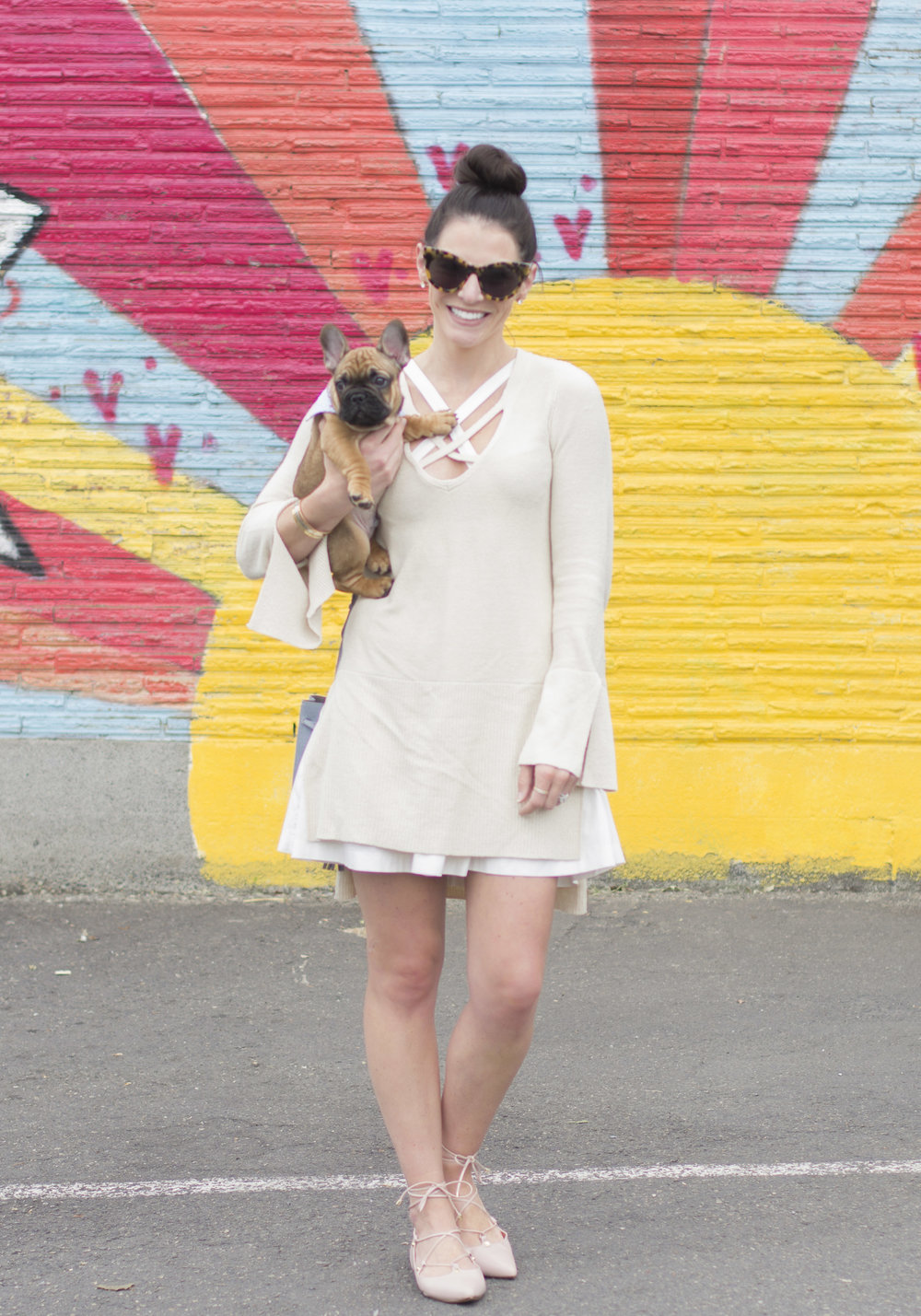 Summer to Fall transition outfit, Summer dress with fall sweater, Free People crisscross sweater, Halogen Owen lace-up ghillie flats, Karen Walker cat eye sunglasses, French Bulldog puppy, Top knot.