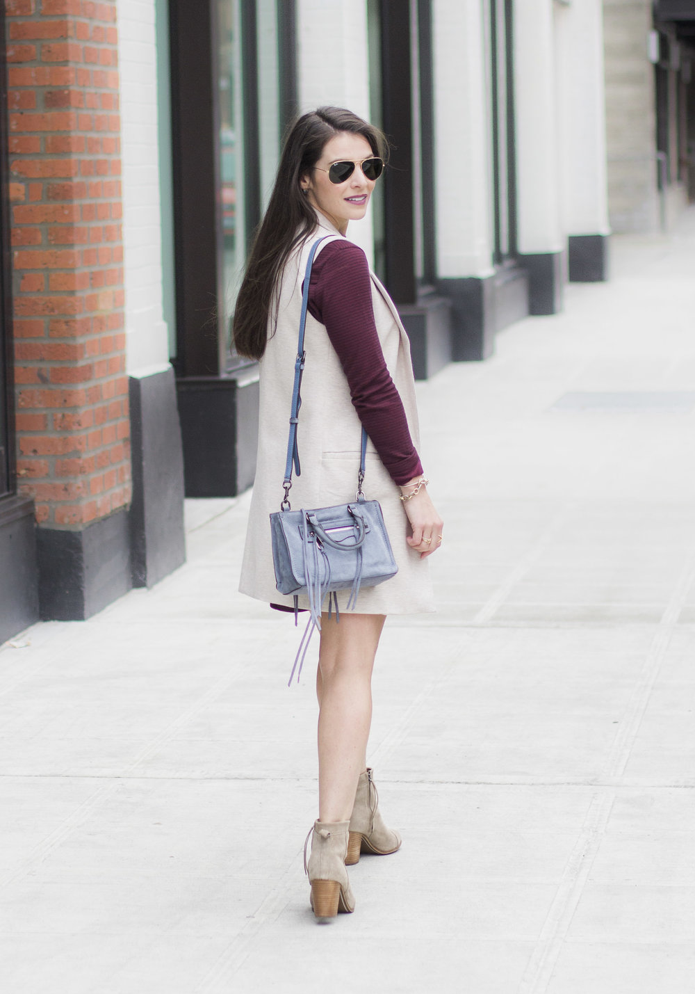 Casual Weekend Outfit for Fall, Leith Stretch Ponte Long Vest, Vans Charlie Dress, Toms Lunata Booties, Rebecca Minkoff Micro Regan Satchel, Ray-Ban Aviator Sunglasses, and Gold Lariat Necklace.