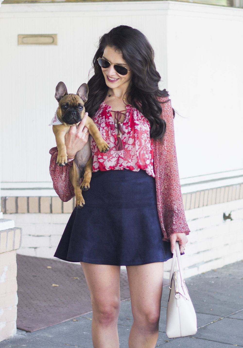 BB Dakota Abrams Skirt, Free People Hendrix Blouse, Kate Spade Cedar Street Maise Handbag, Halogen 'Owen' Ghillie Lace-up Flats, Ray-Ban Aviator Sunglasses, Cute Fall Outfits