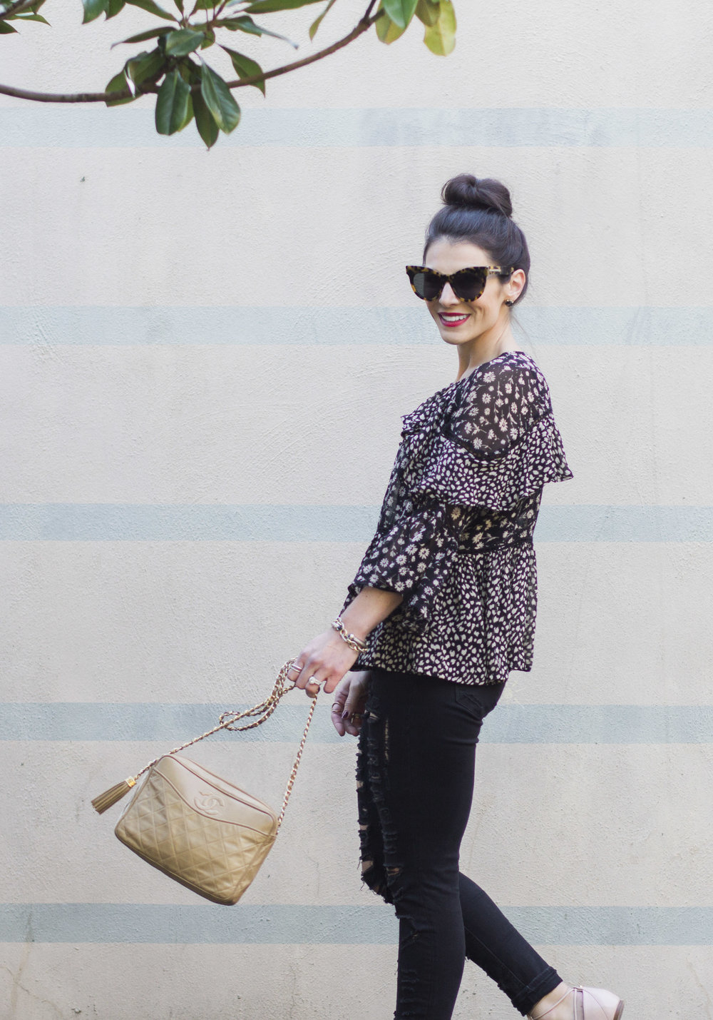 Cute fall outfits, Asos floral ruffle sleeve top, Blank NYC ripped denim, Halogen Ghillie flats, Vintage Chanel Handbag, and Karen Walker cat eye sunglasses.