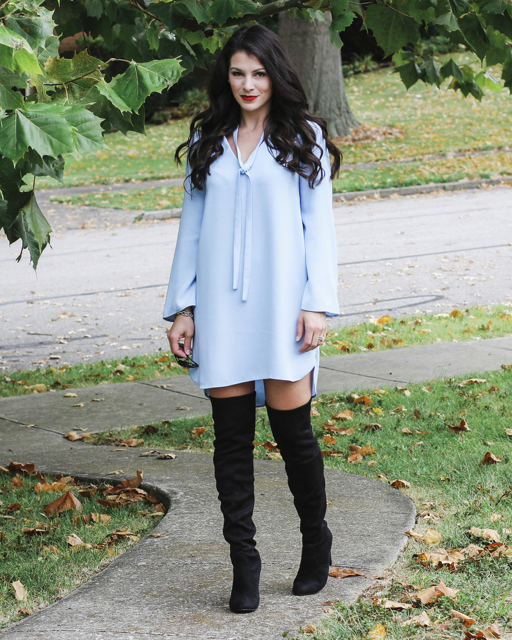 Over the knee boot outfit ideas, cute fall outfits, Tie neck dress with Steve Madden Gorgeous OTK boots.