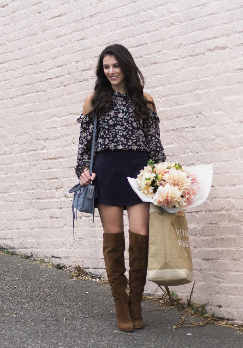 Cute fall outfits, BB Dakota abrams faux suede skirt, Steve Madden Eternul over the knee boots, JOA cold shoulder top.