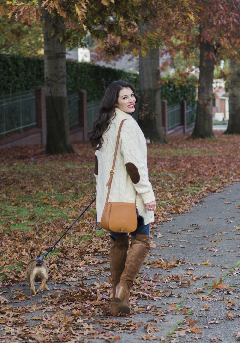 Mark & Graham cable cardigan, daily crossbody bag, Italian leather leash and collar, french bulldog puppy, sweater with elbow patches, cute fall outfits.